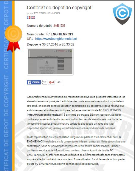 Certificat de depot de copyright de fc enghiennois