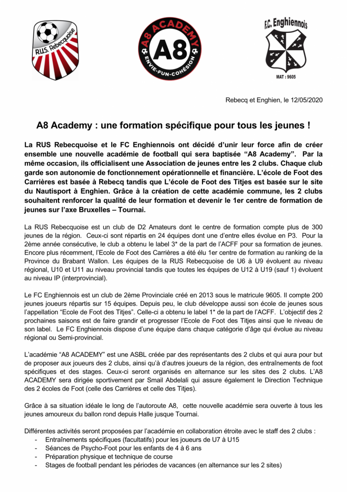 Communique de presse a8 academy association rusr fce interne page 1