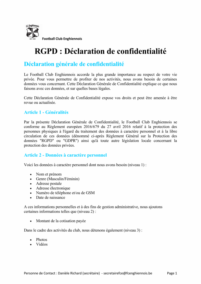 Declaration de confidentialite page 1