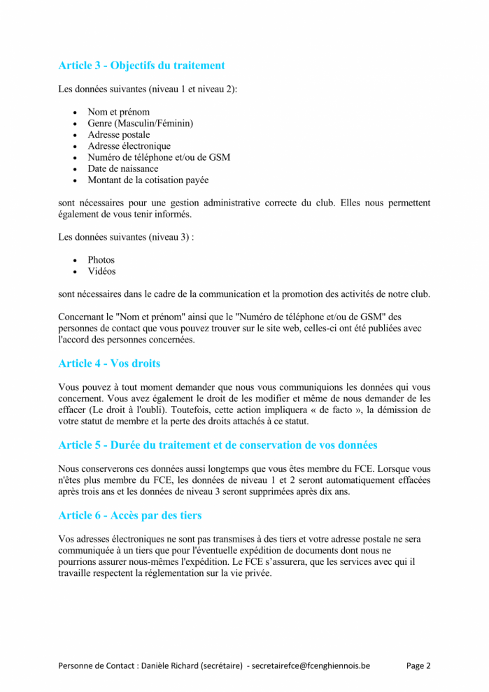 Declaration de confidentialite page 2