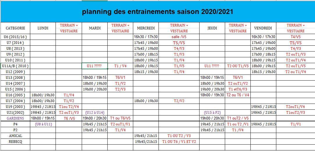 Planning sans les coachs 03 aout