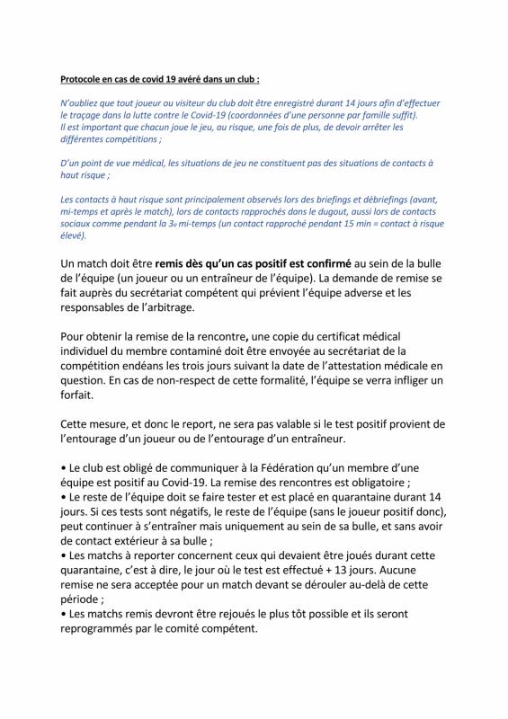 Protocole si cas de covid dans un club ca 2020 09 08 page 1